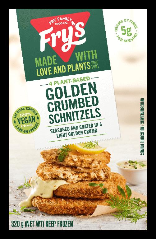 Plant-based golden crumbed schnitzels