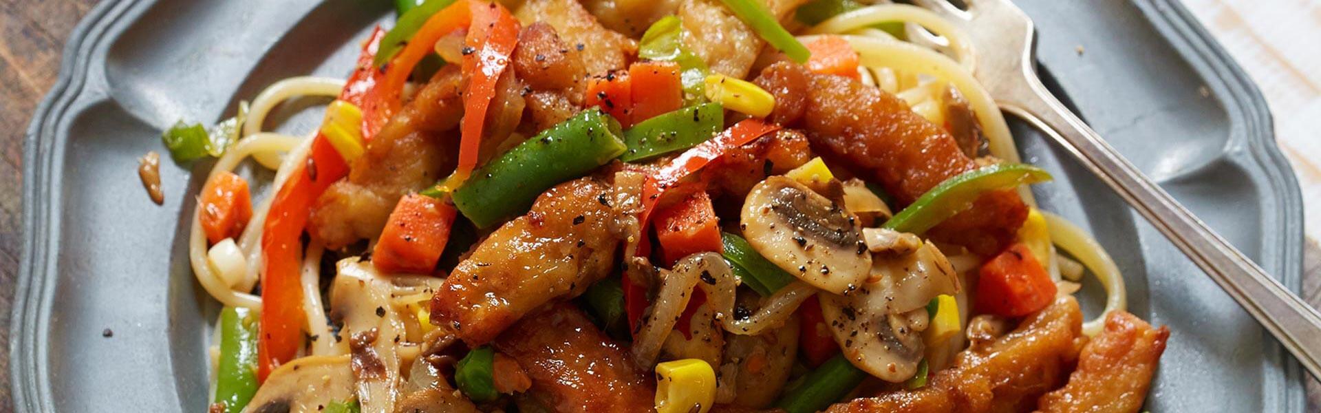chicken style veg pasta
