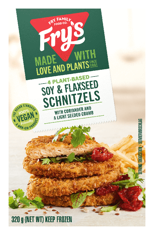 Soy & flaxseed schnitzels: Fry's