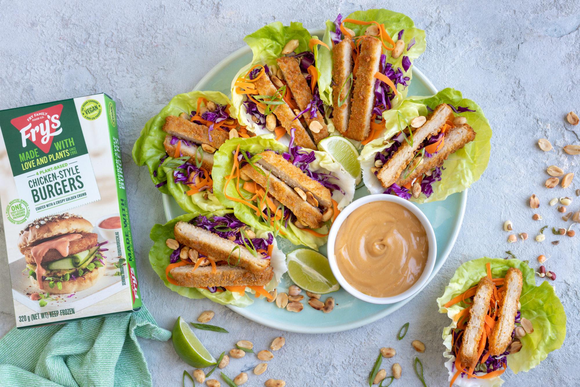 Frys_Chicken-Style_burgers in lettuce cups