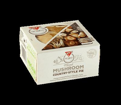 Fry's mushroom country-style pie packaging