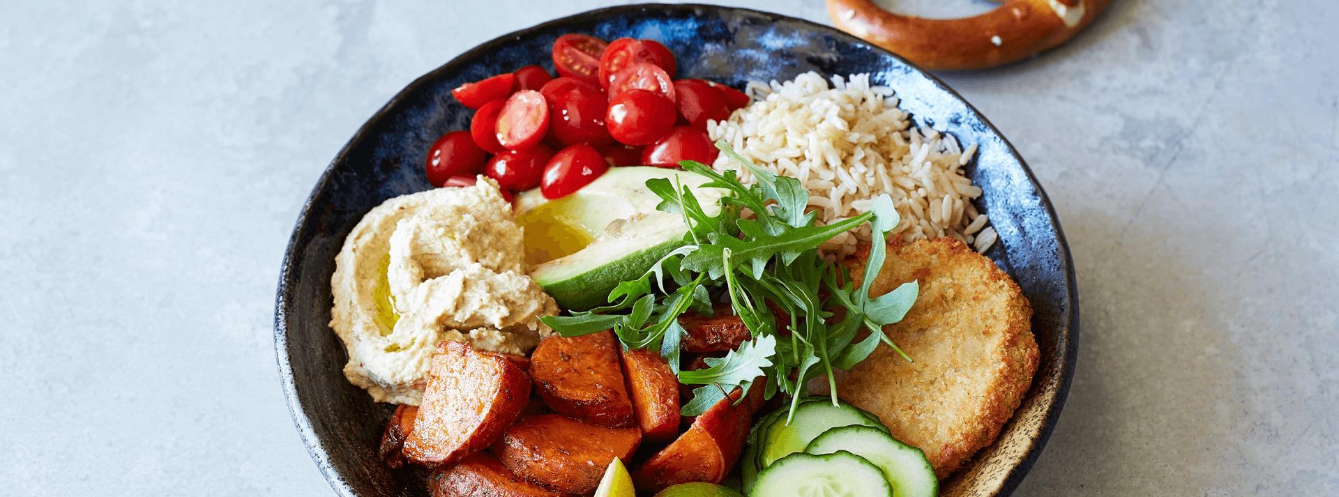 Buddha Bowl with Chicken-Style Burgers & Hummus 2019